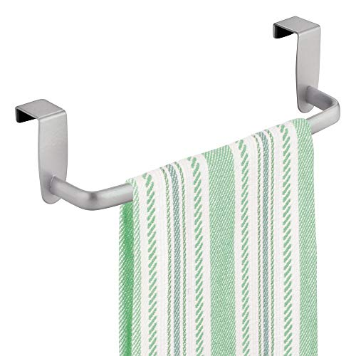 mDesign Modern Kitchen Over Cabinet Strong Steel Towel Bar Rack - Hang on Inside or Outside of Doors - Storage and Organization for Hand, Dish, Tea Towels - 9.75' Wide - Silver