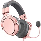 Pink Gaming Headset for PS5, PS4, Xbox One (Adapter Not Included), Nintendo Switch, PC, with Surround Sound, RGB LED Light & Noise Canceling Microphone