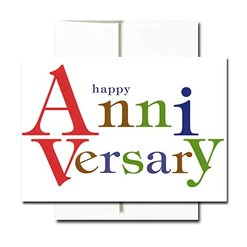 Anniversary Cards: Bold Letters - Box of 30 Blank Note Cards and 32 Envelopes