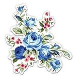 GT Graphics Vintage Blue Flowers Floral Design - 5' Vinyl Sticker - For Car Laptop I-Pad - Waterproof Decal
