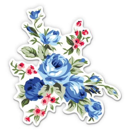 GT Graphics Vintage Blue Flowers Floral Design - 5 Vinyl Sticker - For Car Laptop I-Pad - Waterproof Decal