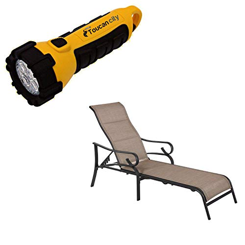 Toucan City LED Flashlight and Hampton Bay Crestridge Steel Padded Sling Outdoor Patio Chaise Lounge in Putty Taupe (2-Pack) FLS60438