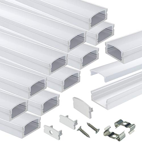 Muzata LED Channel System with Milky White Cover Lens,Silver Aluminum Extrusion Profile Housing Diffuser Track for Strip Light with 12PACK 1M/3.3FT U Shape U1SW WW 1M, LU1