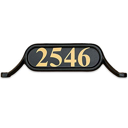 ADDRESSES OF DISTINCTION Williamsburg Style 2 Address Plate – Contemporary Plaque for House Numbers – Rust Proof Aluminum Mailbox Topper – Mounting Hardware Included (Gold Reflective Vinyl Numbers)