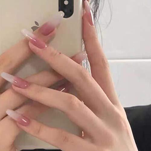 Brishow Künstliche Nägel Lange Falsche Nägel Rosa Weiß Farbverlauf Drücken Sie auf die Nägel Ballerina Acryl Full Cover 24 Stück für Frauen und Mädchen