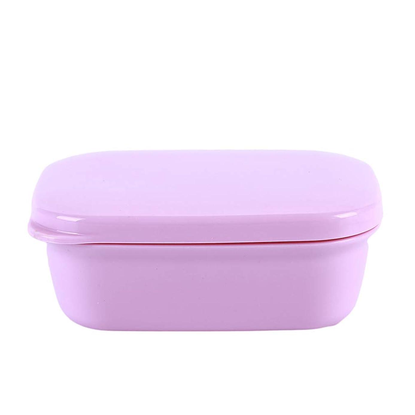 冒険君主平らなLJSLYJ 旅行のためのふたの石鹸皿、ピンクが付いている携帯用長方形の石鹸箱の下水管層
