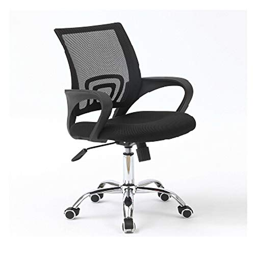 DALIBAI Black Work Chair, Modern Comfort Black Swivel Mesh Home Office Work Chair with Arms and Adjustable Height