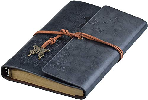 Longsing Cuaderno de Cuero Cuaderno Retro Cuaderno A6 Cuaderno de Escritura Recargable Vintage Cuaderno Negro