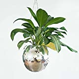 Hanging Plant Planters - Disco Ball Planter, Hanging Macrame Rope and Wooden Stand for Plant Care, Patio Pot Decor, Plant Hanger, Indoor Outdoor Hanging Plant Holder (10cm)