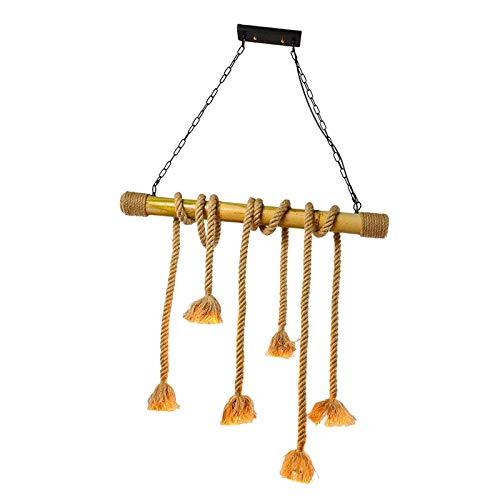 H HILABEE Luz de Techo Lámpara de Cuerda Tipo Loft 6 Cabezales E27 Comedor Cafetería Candelabros