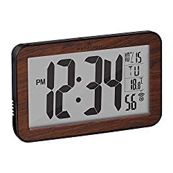 Marathon Commercial Grade Panoramic Autoset Atomic Digital Wall Clock with Table or Desk Stand, Date, and Temperature, 8 Time Zone, Auto DST, Self Setting, Self Adjusting, Batteries Included (Wood)