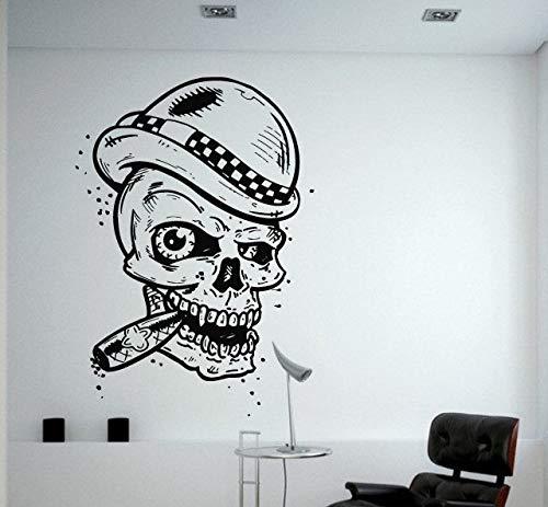 42 * 64cm craneo cabeza smoking Cool Wall Decal Sticker de vinilo de pared estilo moderno cartel casa decoracion especial desmontable creativos murales