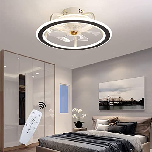 SXYRN Ring Led Ceiling Fan with Light Modern Quiet Fan Ceiling Light Remote Control Dimmable Ceiling Fan Light Bedroom Stylish Ceiling Lamp,F