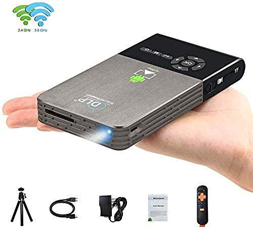 YAYY Mini-projector, wifi, videoprojector, DLP-projector met 50.000 uur levensduur van de lamp, 1080P, ondersteunde draagbare projector, ingebouwde batterij en 360 graden draaistatief (upgrade)