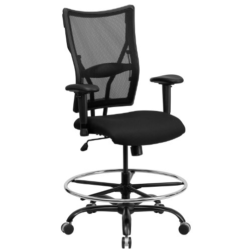 Flash Furniture HERCULES Series Big & Tall 400 lb. Rated Black Mesh Ergonomic Drafting Chair with Adjustable Arms