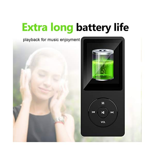 Mp3 Player with FM Radio and Voice Recorder, Ultra Slim Music Player with Video Play Text Reading and Build-in Speaker Support up to 128GB, Music Earphone Included (Black) 6