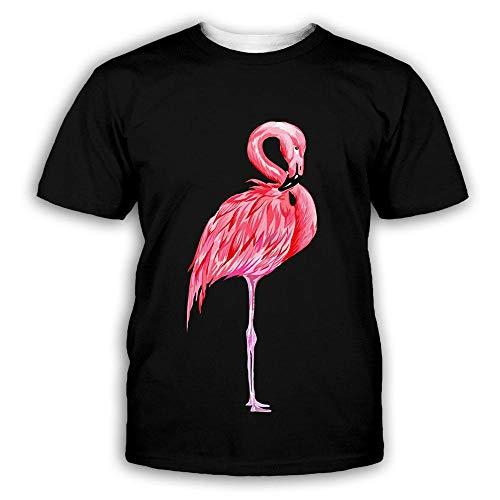 RKWEI T-shirt à manches courtes pour homme - Imprimé flamant rose 3D - Style décontracté - Séchage rapide - Pour garçons et filles