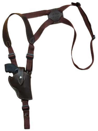 Barsony Brown Leather Vertical Cross Harness Shoulder Holster for Ruger LCR 38, 357 Left