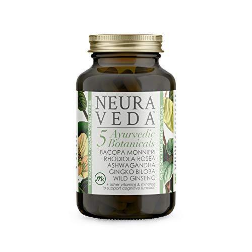 Neura Veda - Support Brain Function | Reduce Tiredness & Fatigue | Nootropic & Adaptogen Blend of Ayurvedic Botanicals - Ashwagandha | Rhodiola Rosea | Bacopa Monnieri | Ginkgo Biloba | Vegan