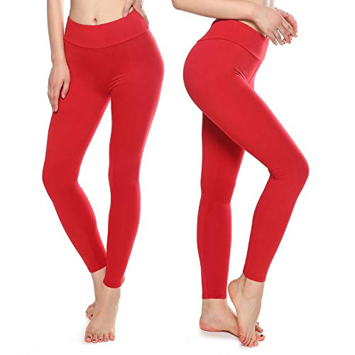Buttery Soft Leggings for Women - High Waisted Leggings Pants with Pockets - Reg & Plus Size (Red, One Size)