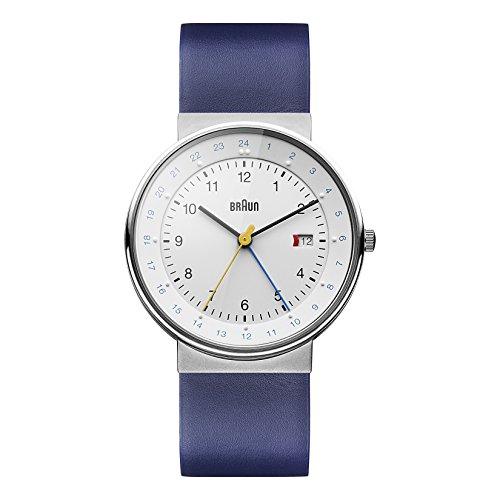 Braun Men's BN0142WHBLG GMT World Timer Analog Display Swiss Quartz Blue Watch