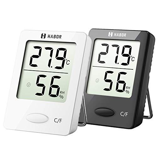 Habor Thermo-Hygrometer, Luftfeuchtigkeitsmessgerät Innen Digitales Thermometer Hygrometer Innen Hydrometer Feuchtigkeit Digital mit Hohen Genauigkeit, Geeignet für Babyraum, Wohnzimmer, Büro, 2 Stück