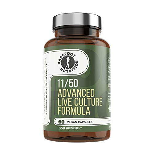 Barefoot Nutrition Advanced Live Culture Formula Probiotic Supplement - 11 Species & 50 Billion cfu's per Capsule, 60 x 1 a Day Capsules. No Artificial fillers/additives. Vegan/Paleo Friendly