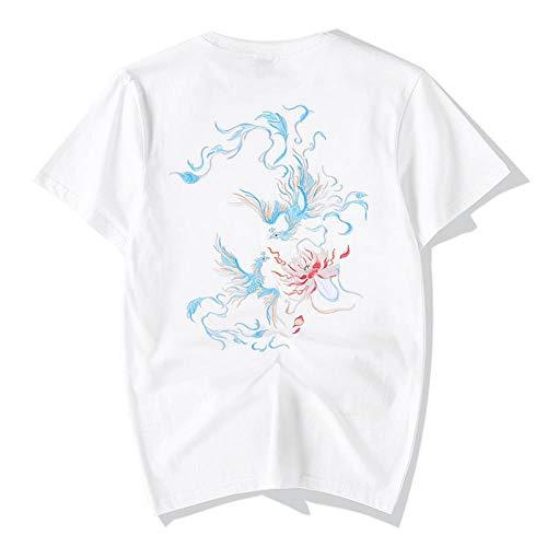 Été de la Mode Chinoise Section Mince Broderie de Lotus Taille lâche Grand Manches Courtes T-Shirt Homme Manches Motif Demi-Phoenix Hyococ (Color : White, Size : L)