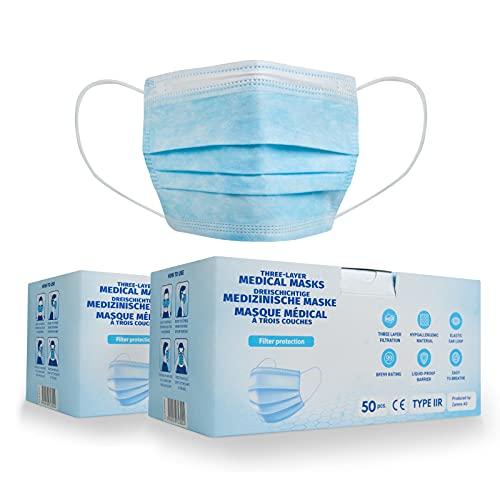 100x Medizinische Einwegmasken - EN14683 Typ IIR mit 99% BFE - Chirurgischer Gesichtsmaske mit 3-lagigen Filtertuch - 100% Made in EU - CE Zertifiziert