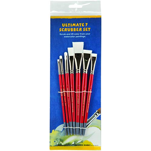 Creative Mark Ultimate Watercolor Scrubber Paint Brush Set, Stiff White Nylon Bristle, Short Handle Paintbrushes for Color Lifting and Mistakes - Set of 7