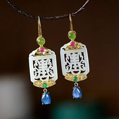 WOZUIMEI Chinese Style Earrings Eardrop S925 Silver Gold-Plated Inlaid Jade Earrings Female Ethnic Elegance Nephrite Earringsearring
