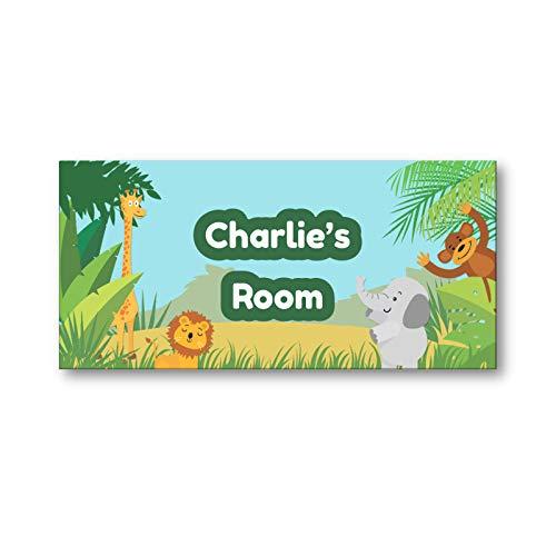 Children's Personalised Name Bedroom Nursery Door Signs - Jungle Design
