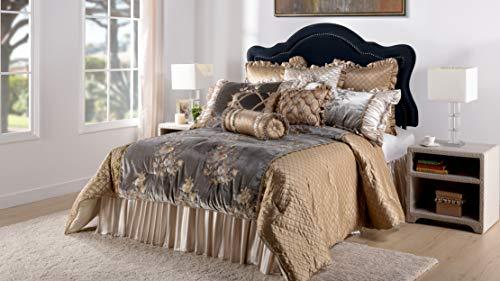 Jennifer Taylor Home 9-teiliges Queen-Size-Bettwäsche-Set, Bestickt, gewebt, Plüsch, Mehrfarbig / Goldbraun