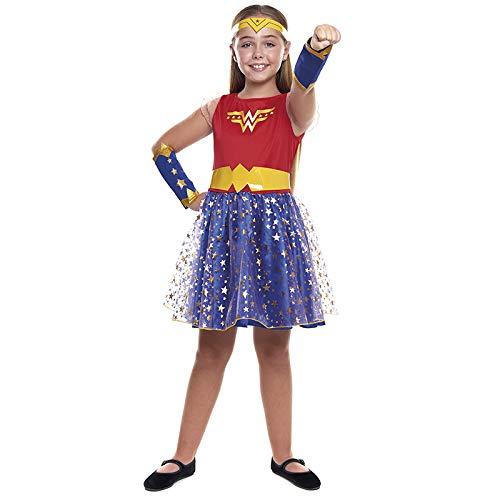 Disfraz Superheroína Wonder Girl Niña【Tallas Infantiles de 3 a 12 años】[Talla 7-9 años] | Disfraces Niñas Superhéroes Carnaval Halloween Regalos Niños Cosplay Cómics