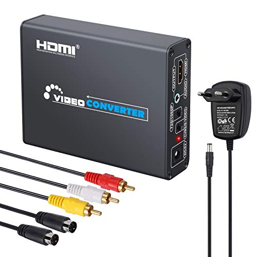 LiNKFOR 1080P RCA S-Video zu HDMI Konverter mit Netzteil Upscaler Adapter 3RCA AV CVBS Composite S-Video R/L Audio zu HDMI mit 3RCA Kabel S-Video für DVD Videorecorder PS2 PS3 HDTV NES SNES N64
