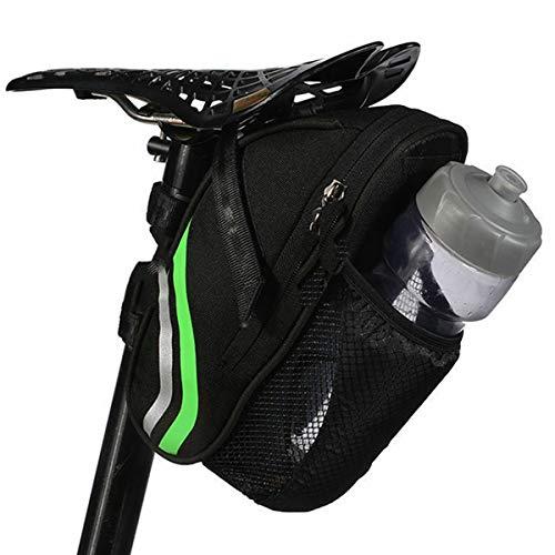 FAMKIT Bolsa de sillín de bicicleta, bolsas de sillín de bicicleta con bolsa de botella de agua, bolsas de bicicleta impermeables para botella de agua, bolsa trasera de bicicleta para deba
