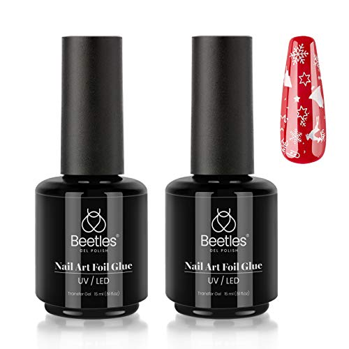 Beetles Nail Art Foil Glue Gel for Foil Stickers Nail Glue Transfer Tips Star Glues Nail Art Manicure DIY LED Lamp Required Soak Off 15ML 2 Bottle