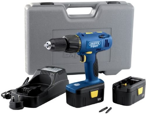 Draper Expert 41409 18-Volt Cordless Combination Hammer Drill with 2 NiCD Batteries