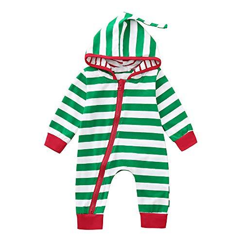 Riou Weihnachten Set Baby Kleidung Pullover Pyjama Outfits Set Familie Infant Baby Jungen Mädchen Jungen Weihnachten Xmas gestreiften Kapuzenspielanzug Jumpsuit Outfit (100, Grün)