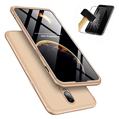 Funda OnePlus 6 360°Caja Caso + Vidrio Templado Laixin 3 in 1 Carcasa Todo Incluido Anti-Scratch Protectora de teléfono Case Cover para OnePlus 6 (Oro)