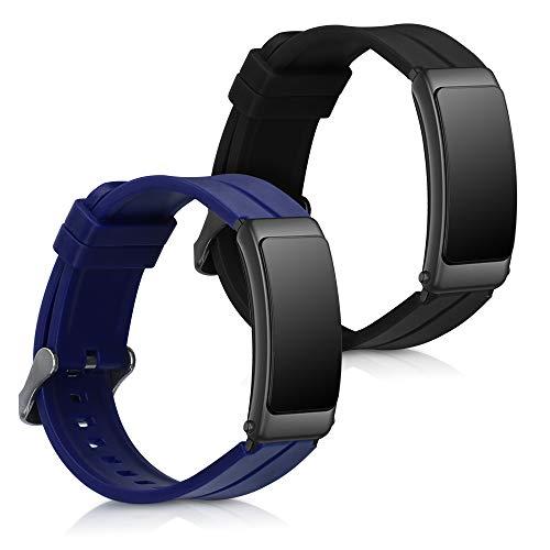 kwmobile 2X Pulsera Compatible con Huawei Talkband B6 - Brazalete de Silicona Negro/Azul Oscuro sin Fitness Tracker