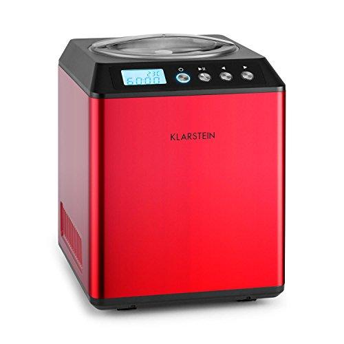 Klarstein Vanilla Sky Eismaschine Speiseeismaschine Eisbereiter (180 Watt, 2 Liter Fassungsvermögen, Kühlhaltefunktion, Timer, integriertes LED-Display, einfache Reinigung, Edelstahl) rot