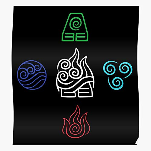 The Water Avatar 4 Elements Element Fire Fifth Last Airbender I Fsgteam- Print Modern Typographic Poster Girl Boss Office Decor Motivational Poster Dorm Room Wall