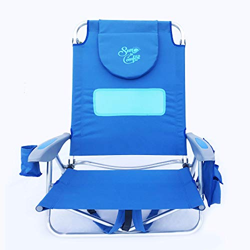 Sun in Comfort | Hootie Hammock Deluxe 5-Position Beach Backpack Chair | Beach Chair for Women | Beach Chairs | Sun Chair Tanning Chair Bohemian Blue