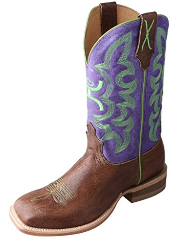 Twisted X Mens Purple Leather 12in Brown Shoulder Hooey Cowboy Boots 14D
