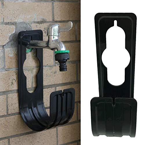 Boquilla de regadera de jardín con gancho telescópico para manguera de jardín, soporte de tubería expandible, manguera de riego de metal resistente, negro
