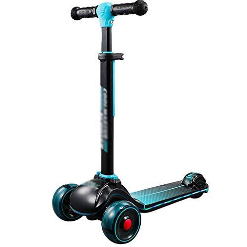 ZHIHUI Scooter Patinete Scooters para Niños de 3 A 12 Años Plegables Patear Scooter Magro para Dirigir La Altura Ajustable para Niños Pequeños para Niños y Niños Scooter (Color : Blue)