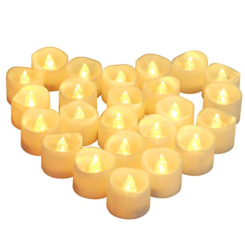 Homemory Battery Operated Tea Lights, 24pcs Flameless LED Tea Candles, Electric Tea Lights with Flickering, Long-Lasting Battery Life [White Base] [Batteries Included]