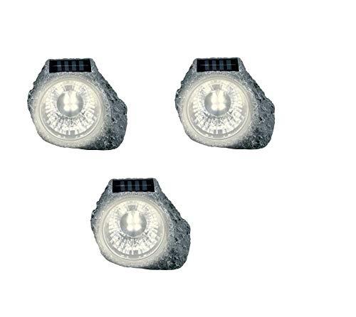 Solarleuchte Gartenleuchte LED Außenleuchte 3er Set Solar in Stein Optik Steine