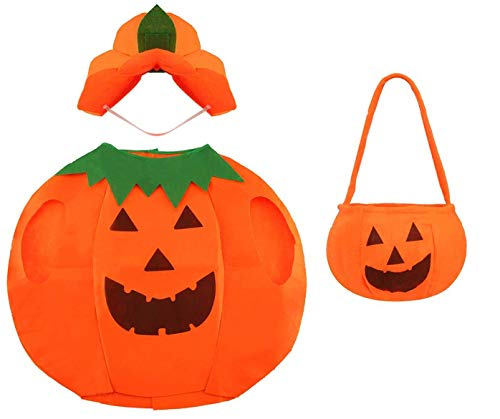 DIYASY Halloween Pumpkin Costume for Kids,3 PCS Pumpkin Cosplay Costume Party Dress for 3-8 Year Girls and Boys with Pumpkin Bag and Hat